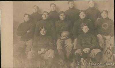 "RPPC Football Team ""C"" Real Photo Post Card Vintage"