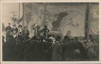 "RPPC Rare: ""King Karlo"" The Maid of Mystery Agoo.- Circus Sideshow Postcard"