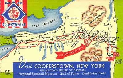 L@@K!, Rare 1939 Baseball Centennial Celebration,Linen Cooperstown, FDC,Postcard