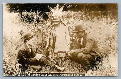 AMERICAN APACHE INDIAN CHIEF GERONIMO STORY ANTIQUE REAL PHOTO POSTCARD RPPC