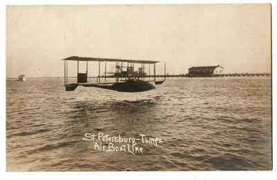 FL Florida Saint St. Petersburg Tampa Air Boat Line Airplane Plane Postcard RPPC