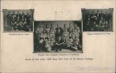 1909 Moraga,CA Rare: 1908 Baseball Teams,St. Mary's College,CA Postcard 1c stamp