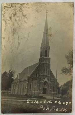 Antique Postcard c1910s RPPC REAL PHOTO Catholic Church Penfield Illinois