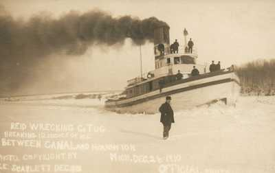 "MICH RPPC Ice Breaker Tug ""Sarnia City"" Houghton Michigan Real Photo Postcard"