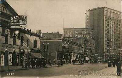 1910 RPPC Pesha Photo Detroit,MI Gayety Theatre,Cadillac Square and Bates Street