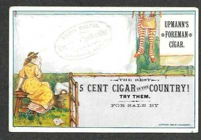 Upmann's Foreman 5 Cent CIGAR, 1880 Postcard Trade Card by C. M. Goodsell