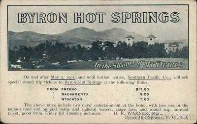 Rare: Byron Hot Springs Southern Pacific 1905,CA Contra Costa County Railroad