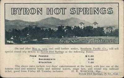 Rare: Byron Hot Springs Southern Pacific 1905,CA Contra Costa County Railroad