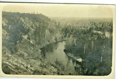 Au Sable MI High Banks View, Logging on Au Sable River RPPC by Bradshaw