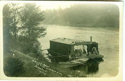 Au Sable MI House Boat {whisky shop?} Boy Guard, Au Sable River RPPC by Bradshaw