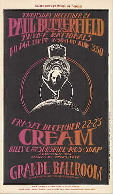 Detroit MI GRANDE BALLROOM Handbill THE CREAM & THE PAUL BUTTERFIELD BLUES BAND!