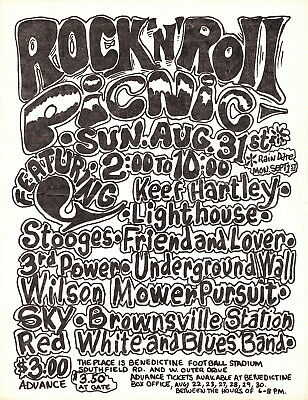 Detroit MI GRANDE BALLROOM ERA KEEF HARTLEY & LIGHTHOUSE @ ROCK & ROLL PICNIC!!!