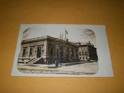 1908 RPPC Town View Post Office & High School Champaign IL Illinois RPO Postcard