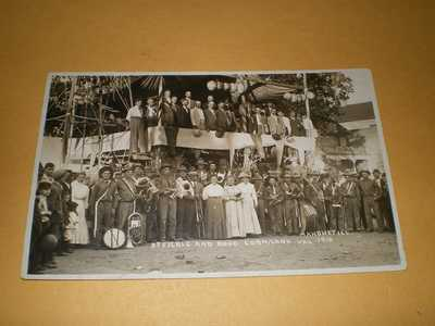 RPPC View Officials & Band Corn Carnival 1910 Mahomet IL Illinois Photo Postcard