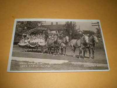 RPPC Drill Girls Float Corn Carnival 1910 Mahomet IL Illinois Photo Postcard