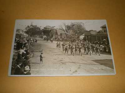 Old RPPC Town Street View Parade Corn Carnival 1910 Mahomet IL Illinois Postcard