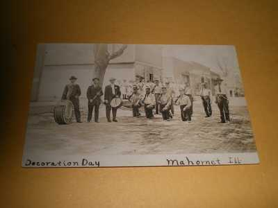 RPPC Town Street View Odd Fellows Band Decoration Day 1910 Mahomet IL Postcard