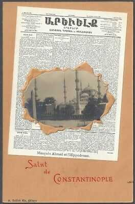 CONSTANTINOPLE, TURKEY ~ ARMENIAN NEWSPAPER & PHOTO INSET ~ OPF French P.O. 1902