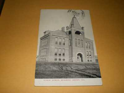 1910 Town View Public School Bldg Sidney IL Illinois Champaign County Postcard