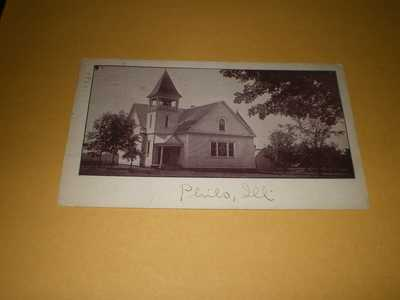 1913 Town View Church Philo IL Urbana Illinois Postcard