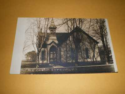 Old RPPC Town View M.E. Church Seymour IL Illinois Photo Postcard