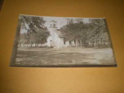 Old RPPC Town View U.B. Church Fisher IL Illinois Champaign Co. Photo Postcard