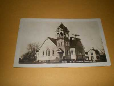1915 RPPC Town View M.E. Church Sadorus IL Illinois Champaign Co. Photo Postcard