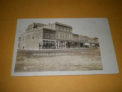 1908 RPPC Town View Dirt Street Sangamon Ave Rantoul IL Illinois Photo Postcard