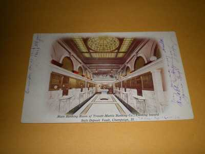 1912 Interior View Main Banking Room Trevett Mattis Co Champaign IL Postcard