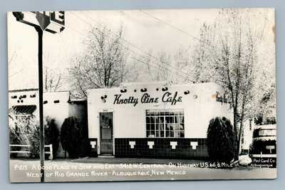 ALBUQUERQUE NM KNOTTY PINE CAFE VINTAGE ADVERTISING REAL PHOTO POSTCARD RPPC