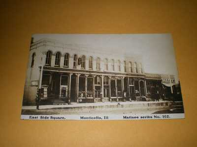 1908 RPPC McMillen Hardware East Side Square Monticello IL Illinois Postcard