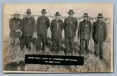 AMERICAN INDIAN POLICE FORCE FORT BERTHOLD ND ANTIQUE REAL PHOTO POSTCARD RPPC