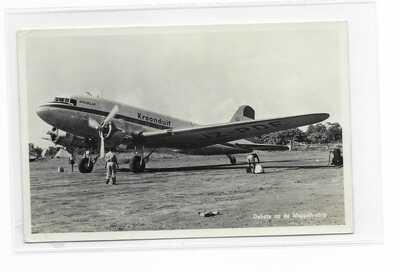 Kroonduif Netherlands New Guinea Airline DC-3 RP postcard Moppah Airport