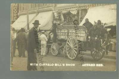 RPPC c1910 BUFFALO BILL Wild West Show VIN FIZ DELIVERY WAGON Soda SIOUX INDIANS