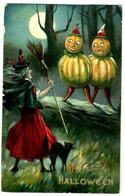 HALLOWEEN ~ Witch, JOL People ~ Valentine & Sons,  circa 1910