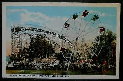 Indian Lake, Ohio Amusement Center,Sandy Beach Park  postcard 1925