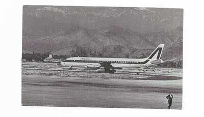Chile Santiago airport postcard Alitalia DC-8