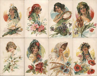 Women Russian(?) Set of 8 Ladies with Flowers Postcard Vintage Post Card
