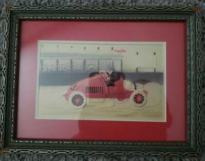 Vintage 1918 Postcard Rare Hand Painted Race Car