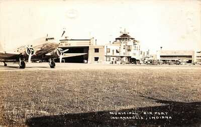 LP32   Indianapolis   Indiana Postcard RPPC Municipal Airport Airplane Aircraft