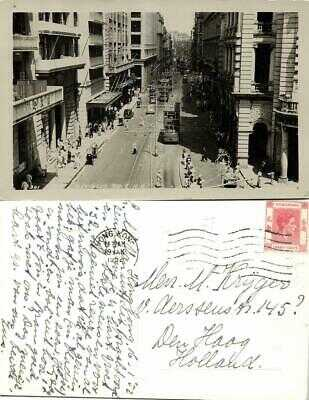china, HONG KONG, Des Voeux Road, Tram Street Car (1952) RPPC Postcard