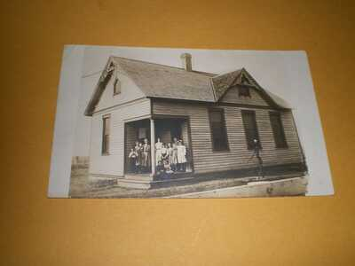 1908 RPPC School House Foosland IL Illinois Champaign County Photo Postcard