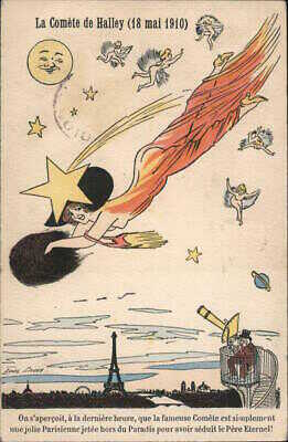 Xavier Sager Rare: Halley's comet (18 May 1910) Astronomy Postcard Vintage
