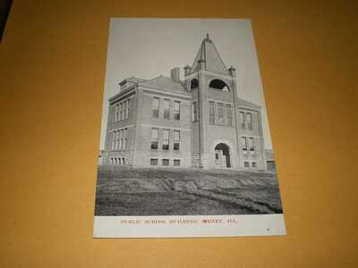 Old Town View Public School Bldg Sidney IL Illinois Champaign County Postcard