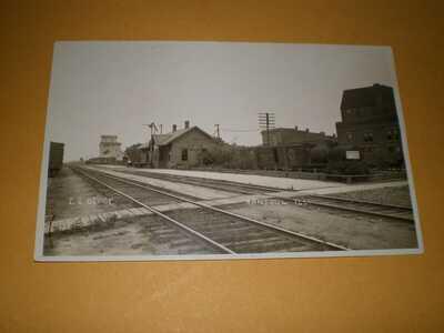 RPPC Rantoul IL Champaign County Illinois Central Railroad Depot #1 Postcard