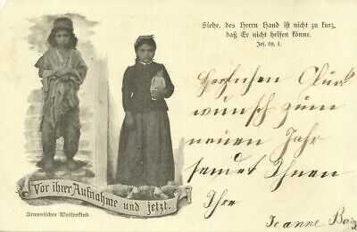 armenia, Armenian Orphan Before her Admission and Now (1903) Postcard