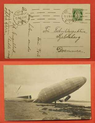 1916 NORWAY RPPC CRASHED BLIMP AIRSHIP ZEPPELIN REAL PHOTO STAVANGER CANCEL