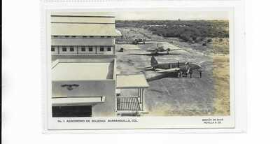 Colombia Barranquilla Airport RP postcard SCADTA Boeing 247 1930s