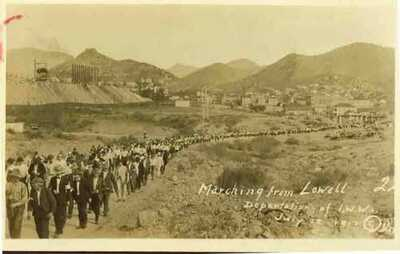 1917 LOWELL BISBEE AZ Deportation of IWW's Mine Workers Marching Dix RPPC