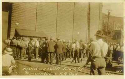 1917 LOWELL BISBEE AZ Deportation IWW's Mine Workers at Railroad Depot Dix RPP